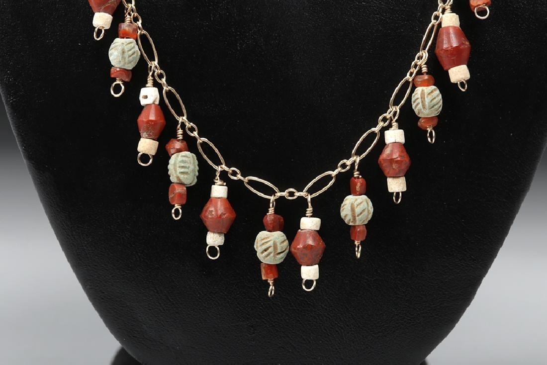 Sumerian Carnelian, Faience, & Paste Glass Necklace - 2
