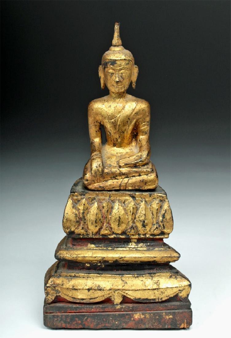 Laotian Gilded Wood Meditation Buddha