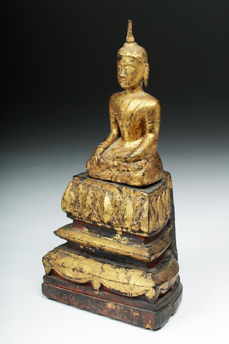 Laotian Gilded Wood Meditation Buddha - 2