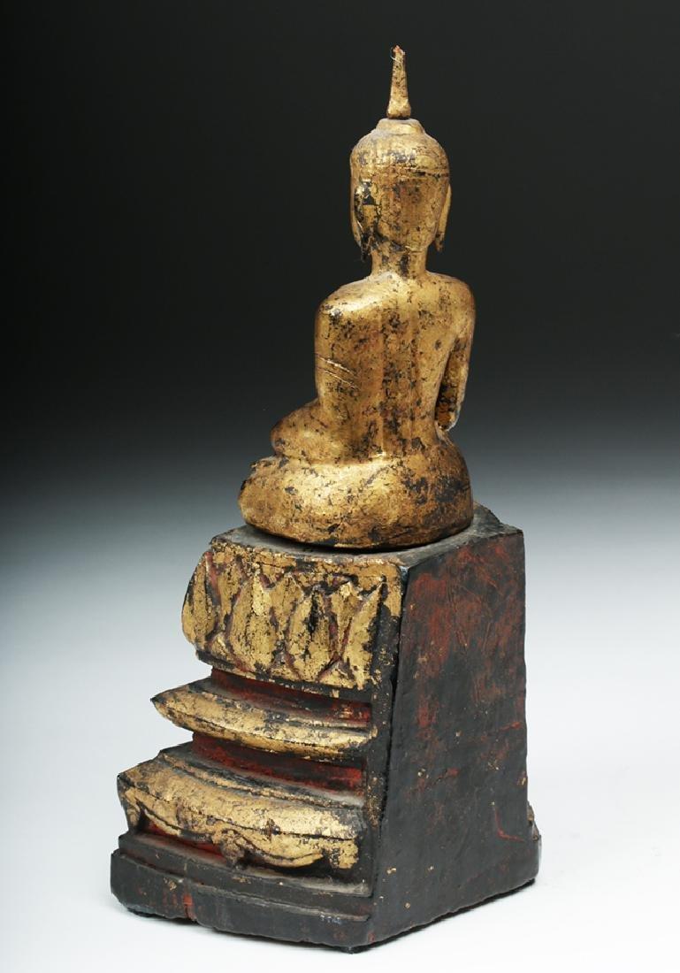 Laotian Gilded Wood Meditation Buddha - 3