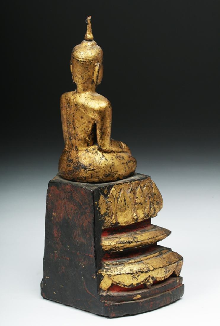 Laotian Gilded Wood Meditation Buddha - 4