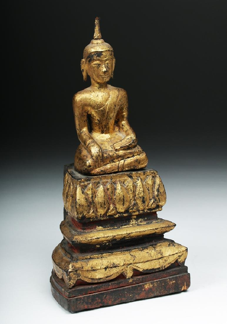 Laotian Gilded Wood Meditation Buddha - 5