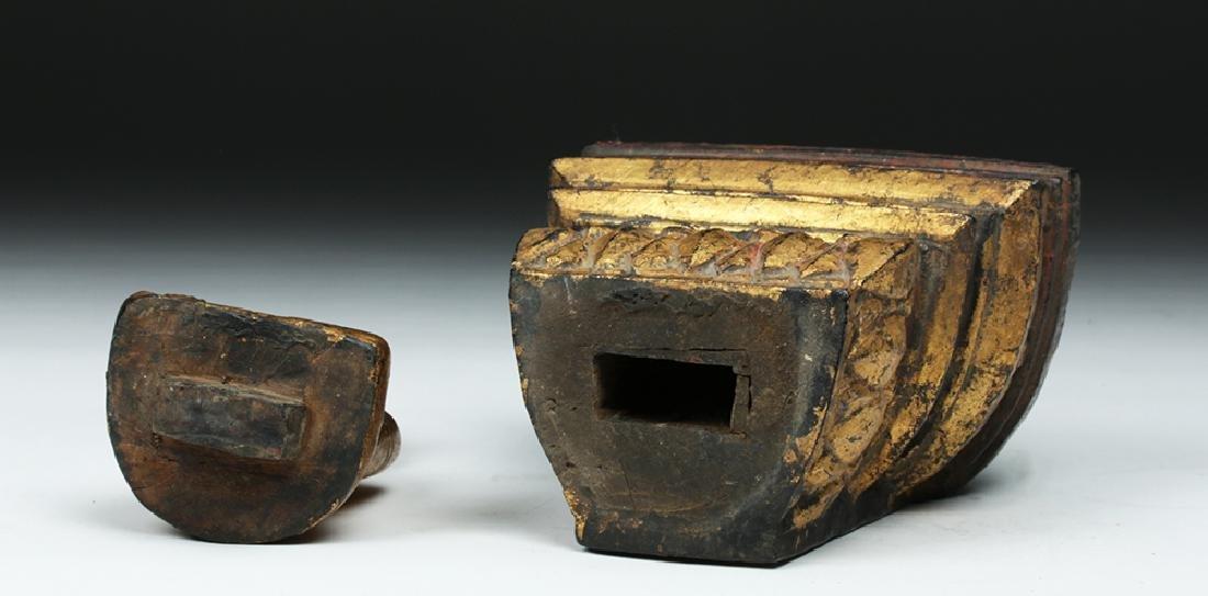 Laotian Gilded Wood Meditation Buddha - 6
