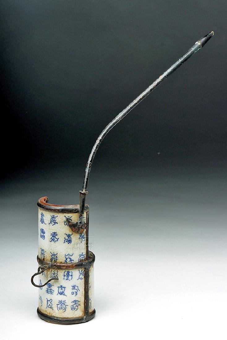 19th C. Chinese Ceramic / Metal Opium Pipe