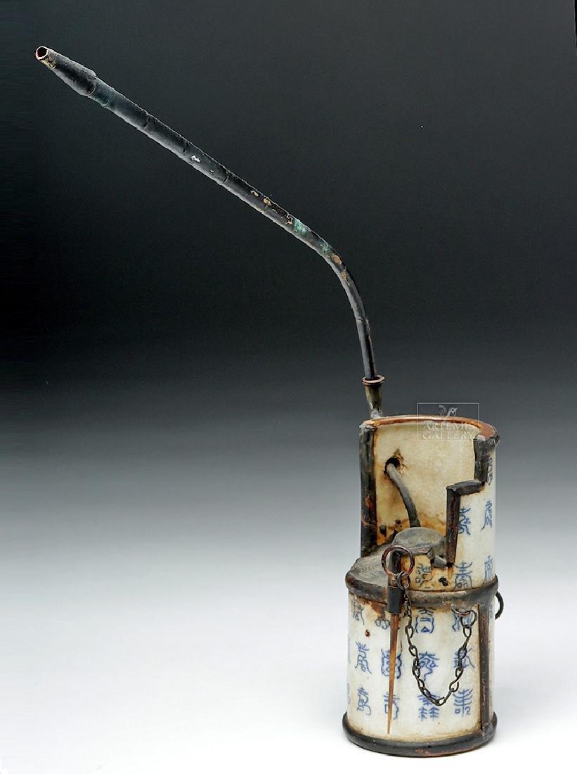 19th C. Chinese Ceramic / Metal Opium Pipe - 3