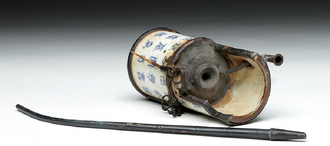 19th C. Chinese Ceramic / Metal Opium Pipe - 9