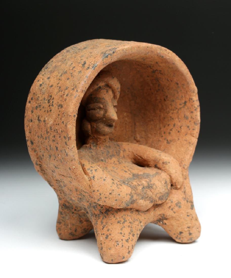 Colima Ceramic Figure Enthroned in Drum
