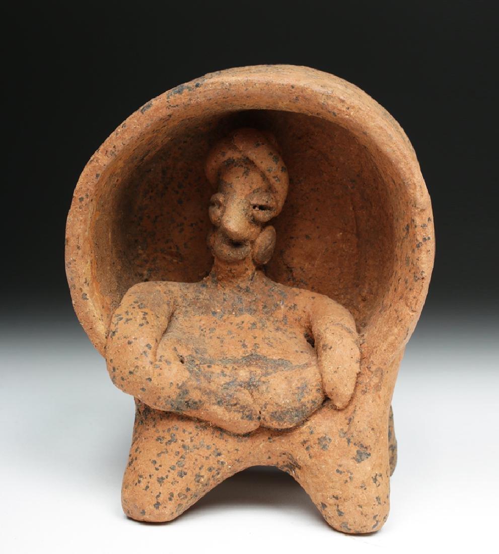 Colima Ceramic Figure Enthroned in Drum - 2