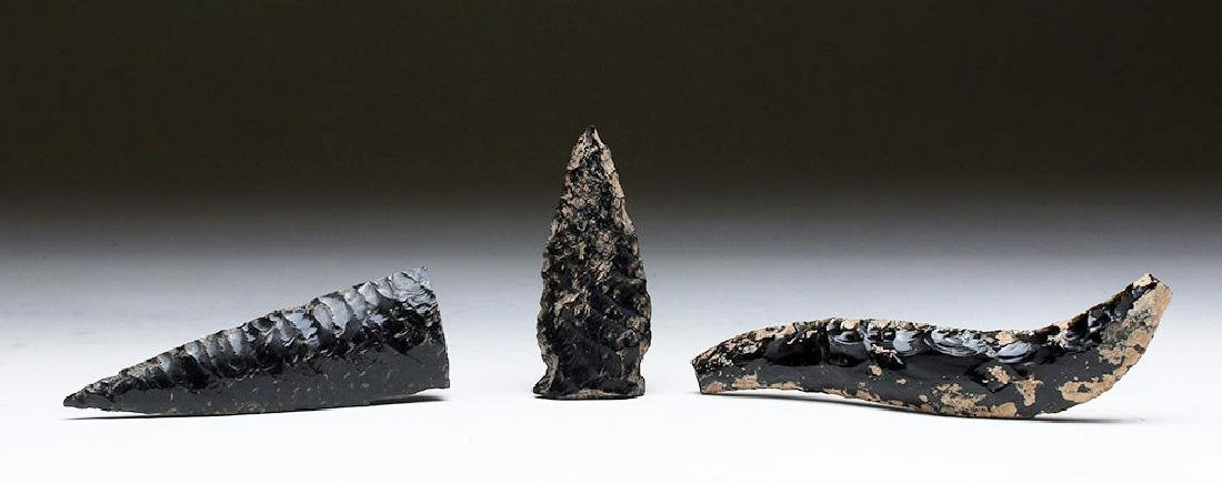 Lot of 3 Pre-Columbian Obsidian Lithics