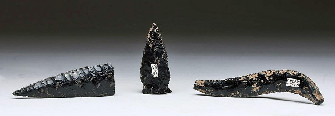 Lot of 3 Pre-Columbian Obsidian Lithics - 5