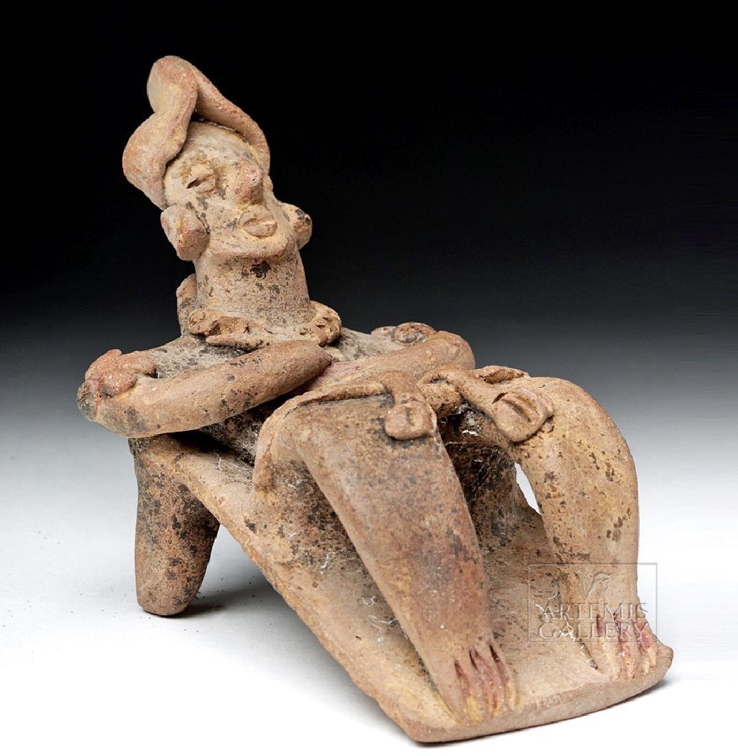 Rare Colima Pottery Flat Reclining Figure