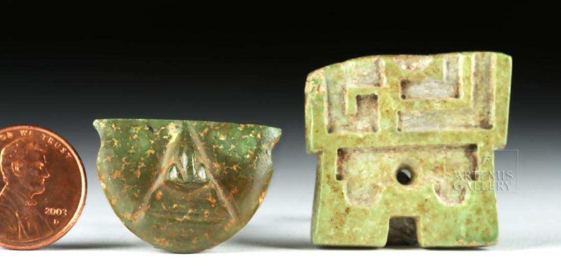 Pair of Mayan Greenstone Fragments - 4