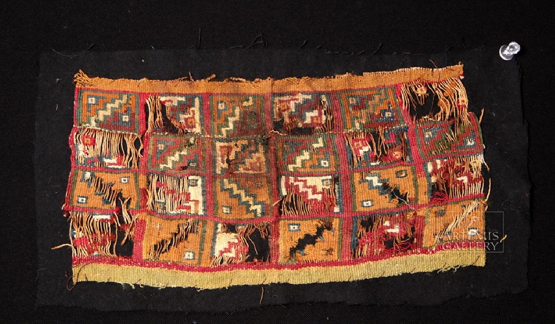 Trio of Ancient Peruvian Textile Polychrome Fragments - 4