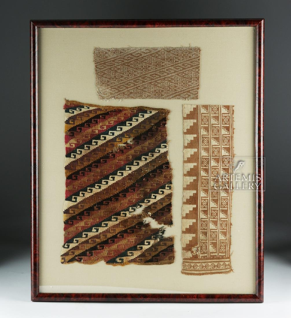 Three Framed Chimu Textile Fragments
