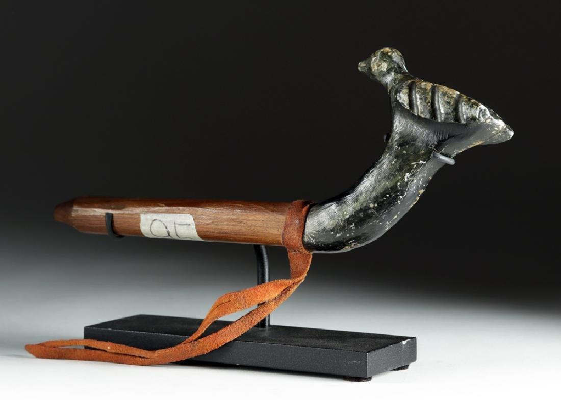 20th C. Pacific Northwest Wood Pipe w/ Stone Bird Bowl - 3
