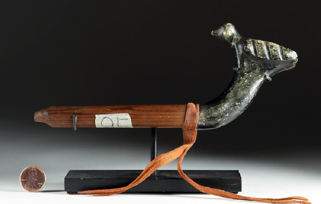 20th C. Pacific Northwest Wood Pipe w/ Stone Bird Bowl - 5