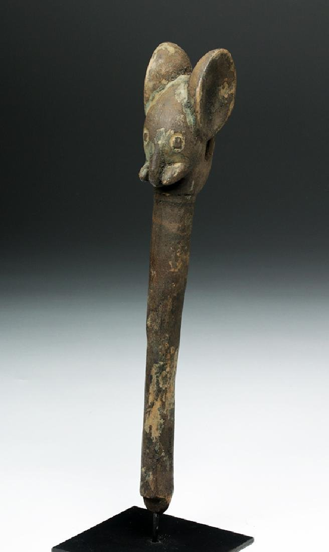 Early 20th C. West Africa Carved Wood Elephant Staff - 5