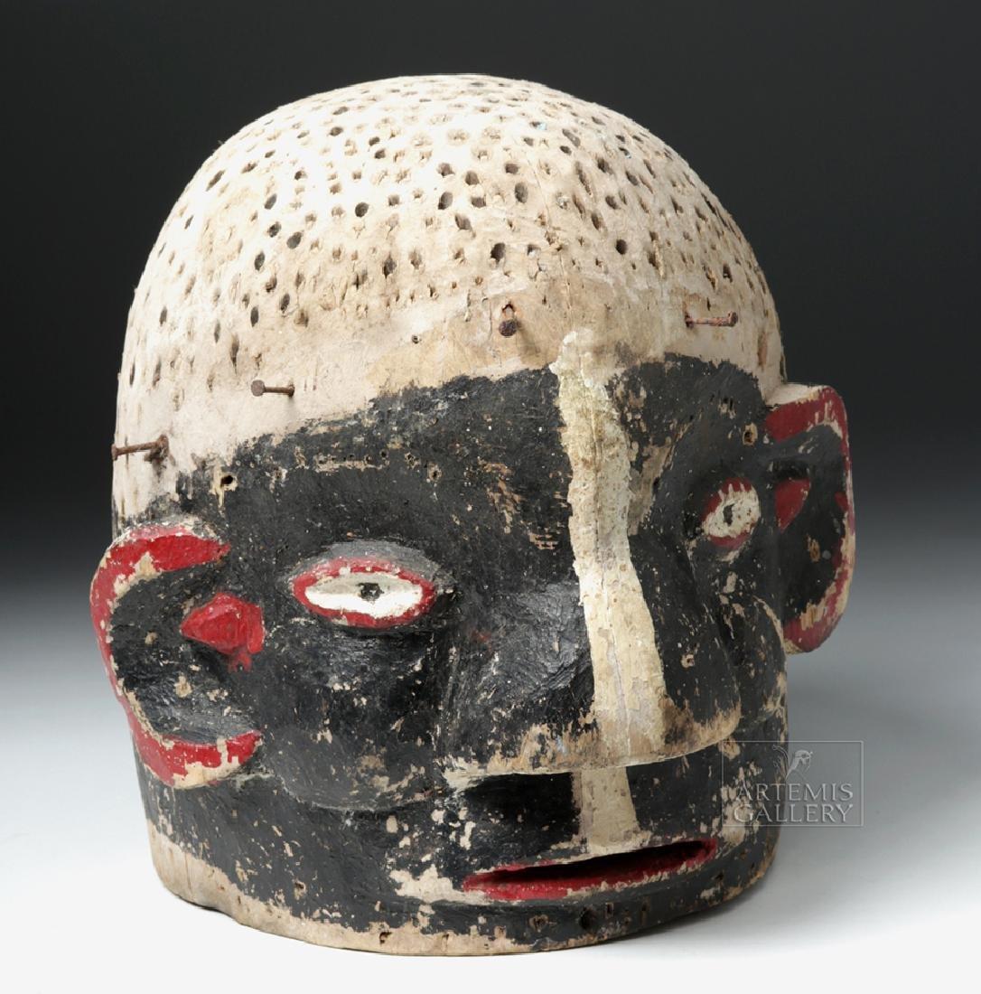 Early 20th C. African E. Nigerian Wood Helmet Mask