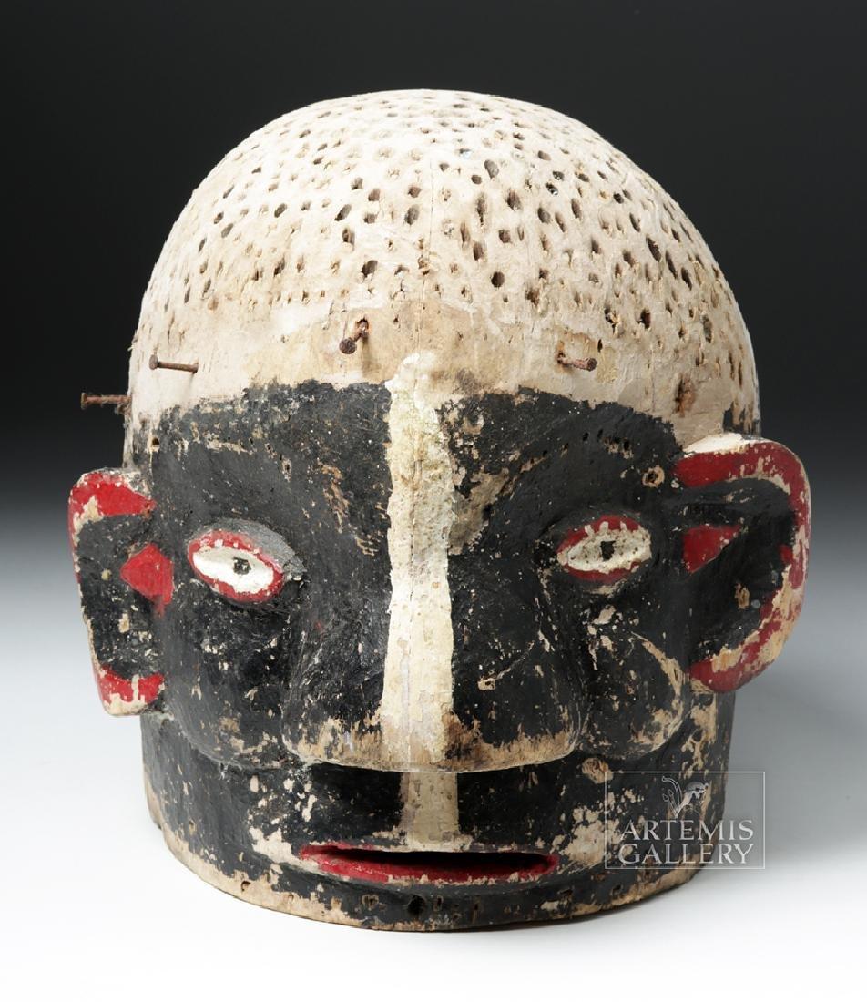 Early 20th C. African E. Nigerian Wood Helmet Mask - 2