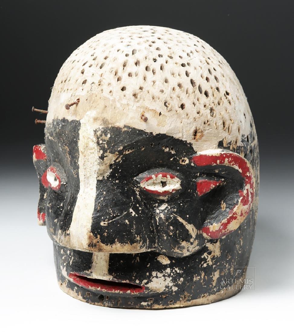 Early 20th C. African E. Nigerian Wood Helmet Mask - 5