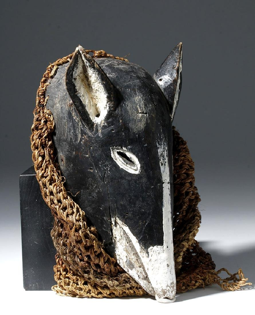20th C. Chokwe Wood Pig Dance Mask w/ Netting - 3