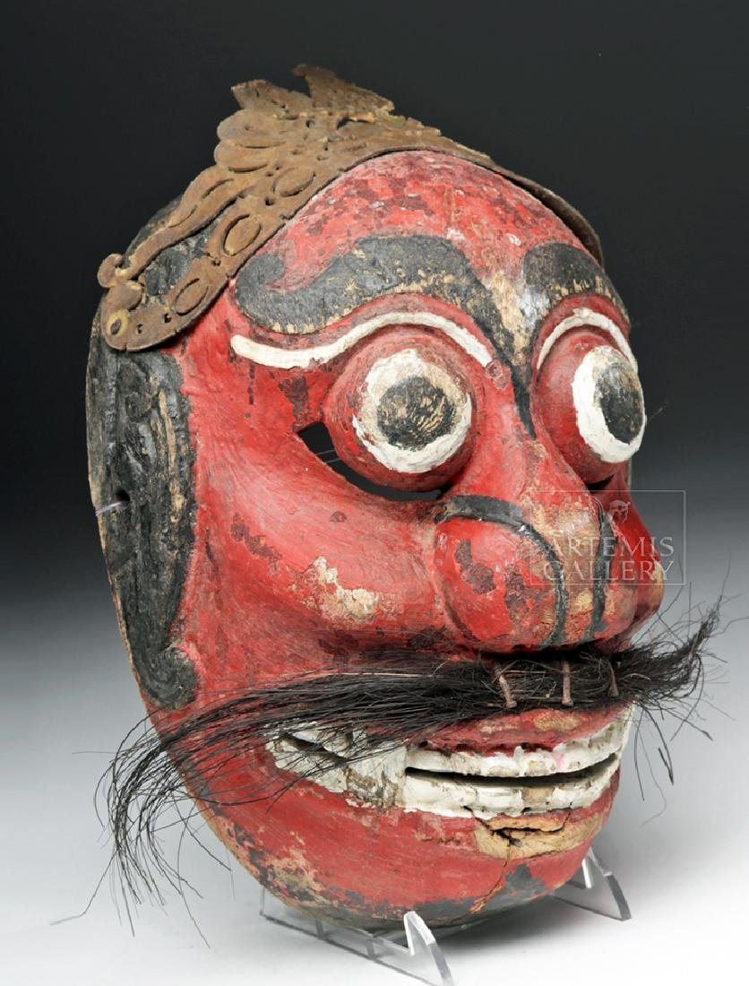 Early 20th C. Indonesian Wooden Festival Mask - 2