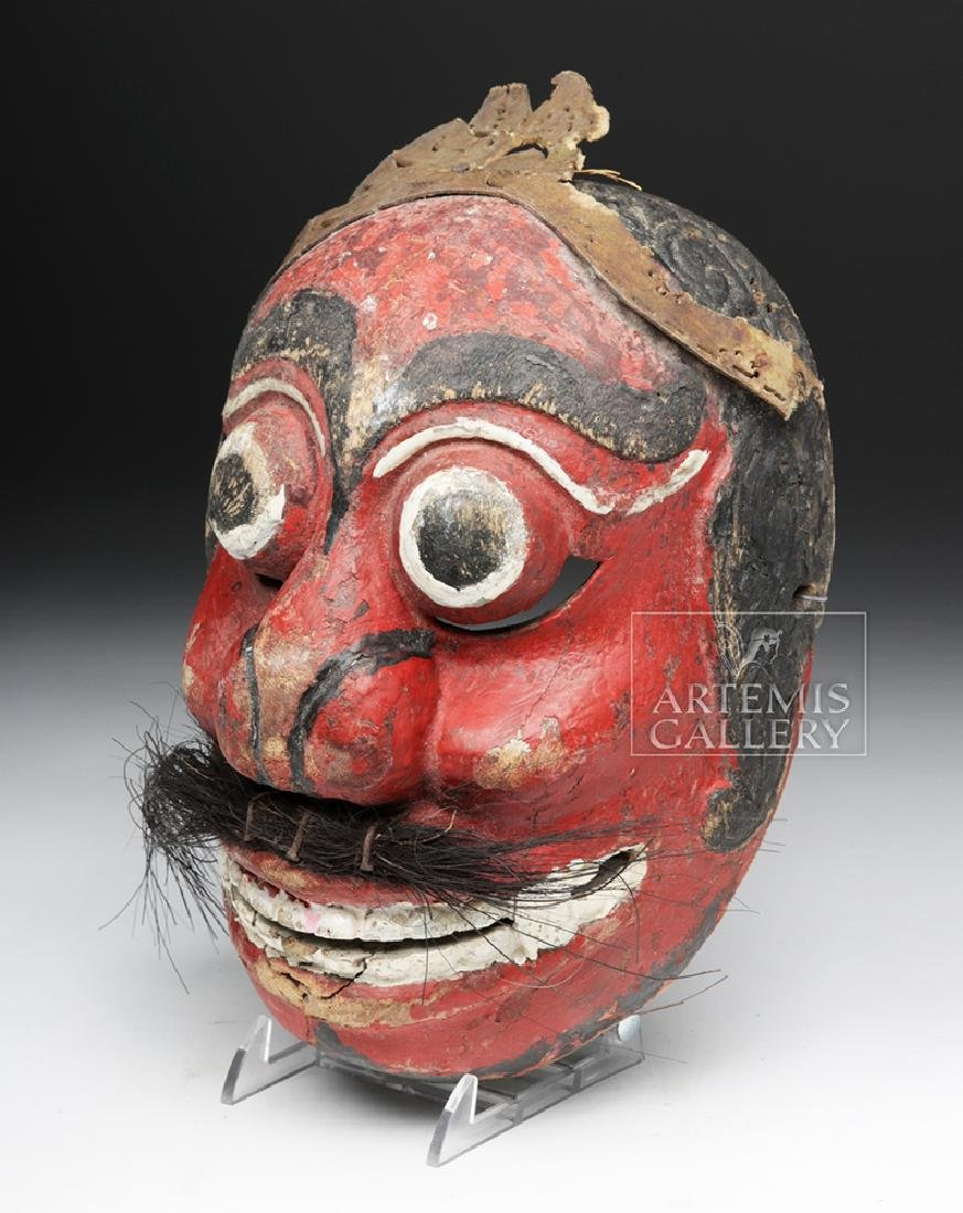 Early 20th C. Indonesian Wooden Festival Mask - 3