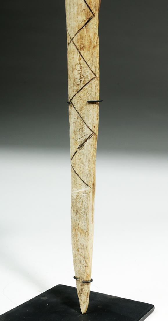 Early 20th C.  Papua New Guinea Cassowary Bone Dagger - 6
