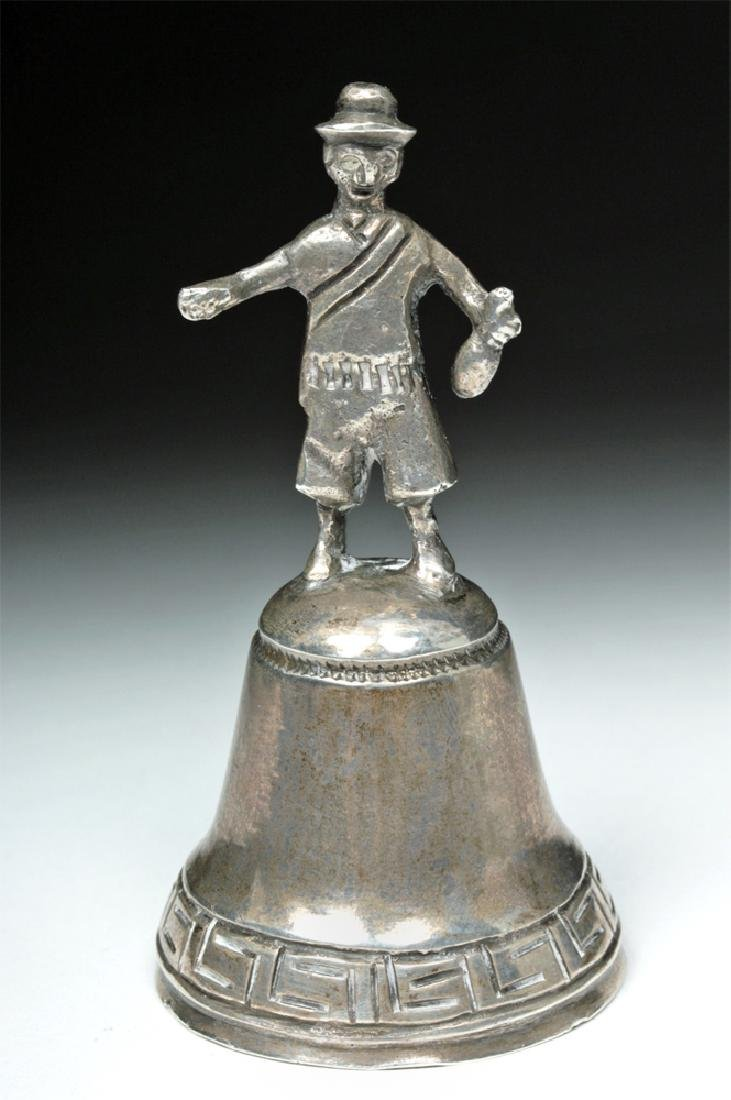 19th C. Bolivian Sterling Silver Bell w/ Figural