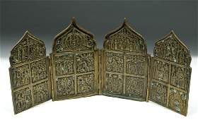 Early 19th C. Russian Brass & Enamel Traveling Icon