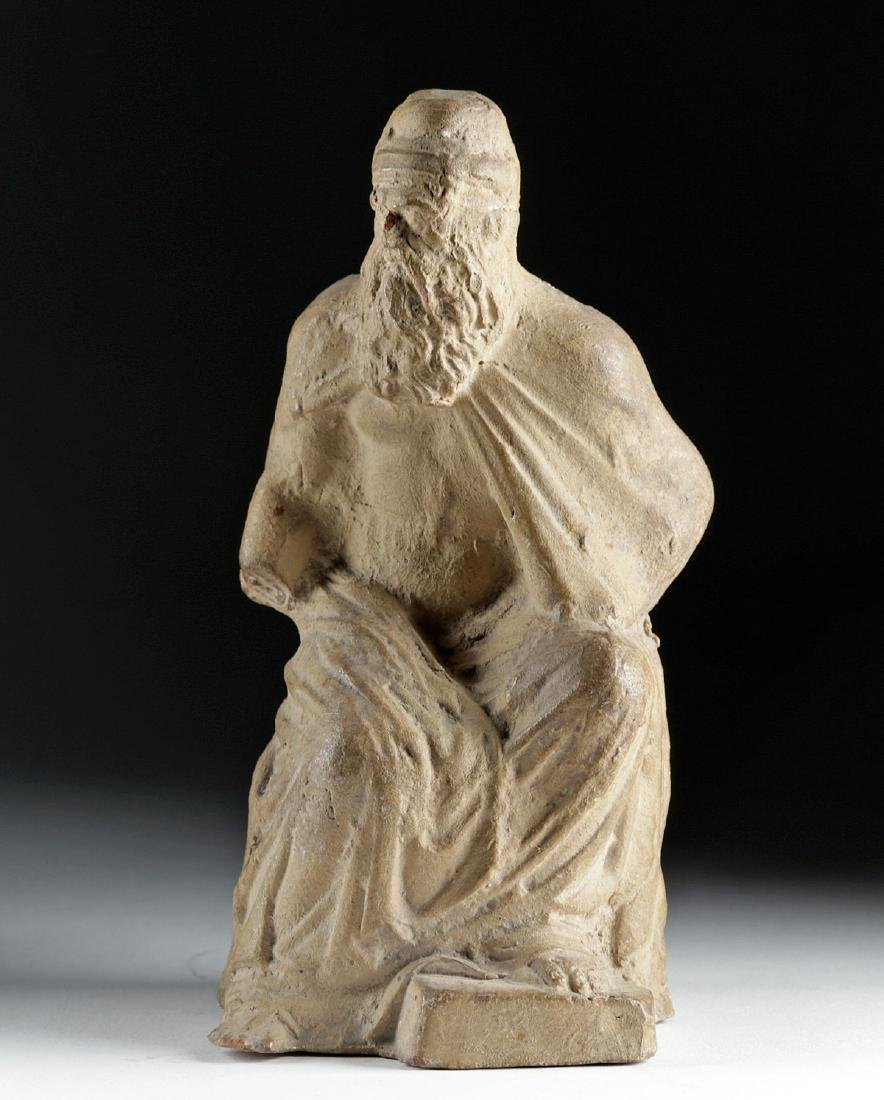 Late 18th C. European Terracotta Seated Philosopher