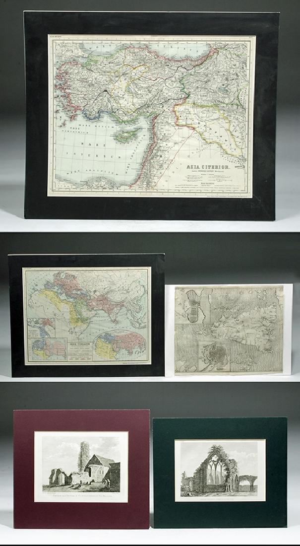Three 19th C. Maps & Two 19th C. Prints