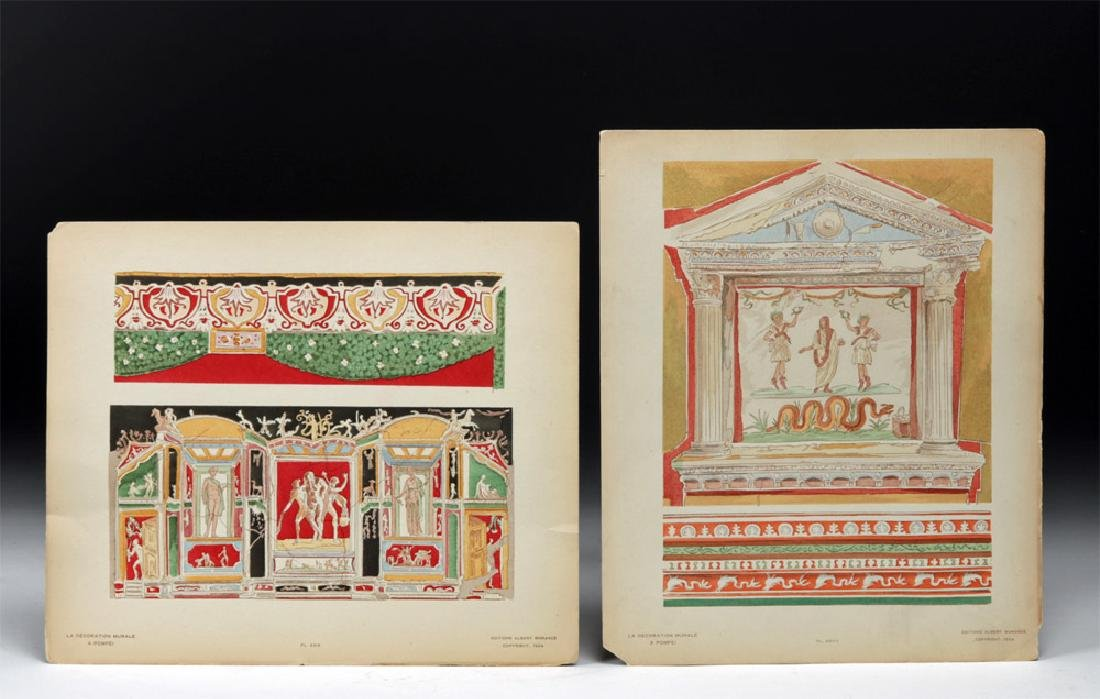 Early 20th C. Italian Hand Colored Plates of Pompeii