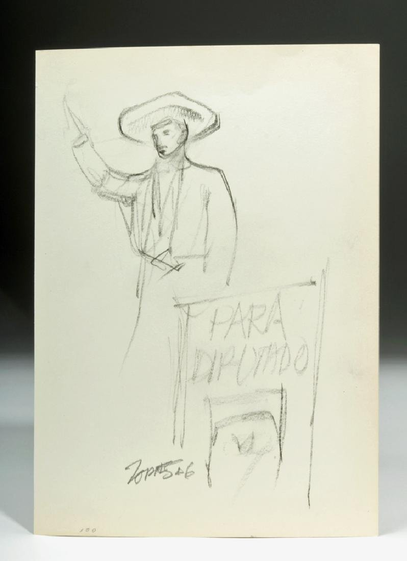 "Signed Zornes 1946 ""Sketch for Padua Hills Theatre"""