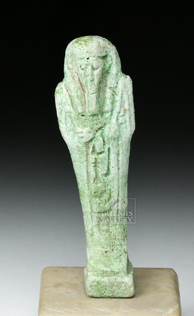 Egyptian Late Dynastic Period Green Faience Ushabti