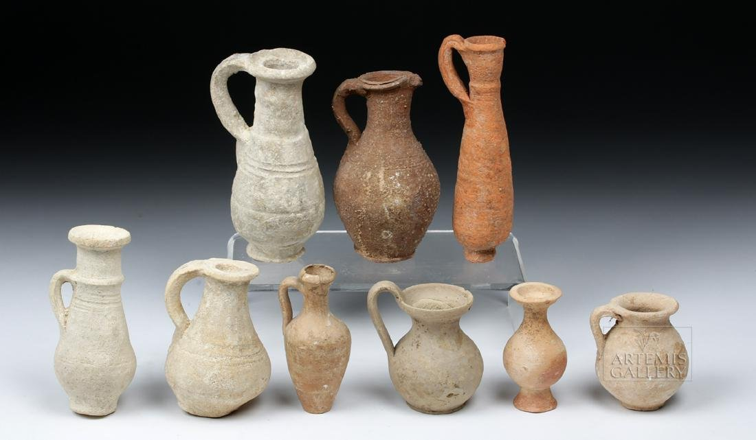 Lot of 9 Ancient Terracotta Pouring Vessels