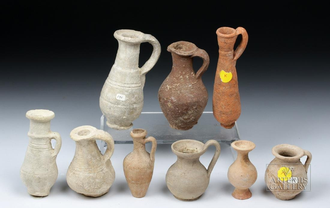 Lot of 9 Ancient Terracotta Pouring Vessels - 2
