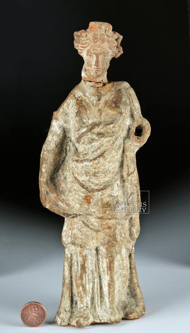 Greek Tenagran Figure of Woman, ex-Bonhams - 6