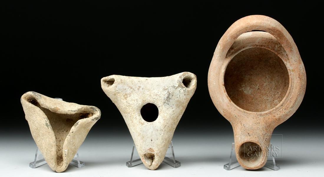 Trio of Ancient Greek Terracotta Oil Lamps