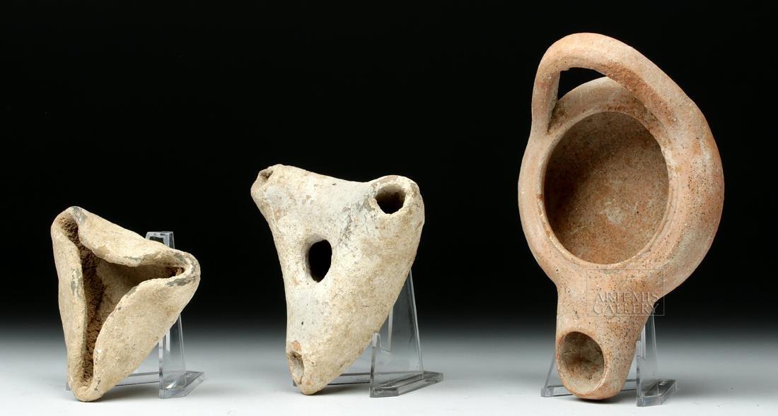 Trio of Ancient Greek Terracotta Oil Lamps - 2