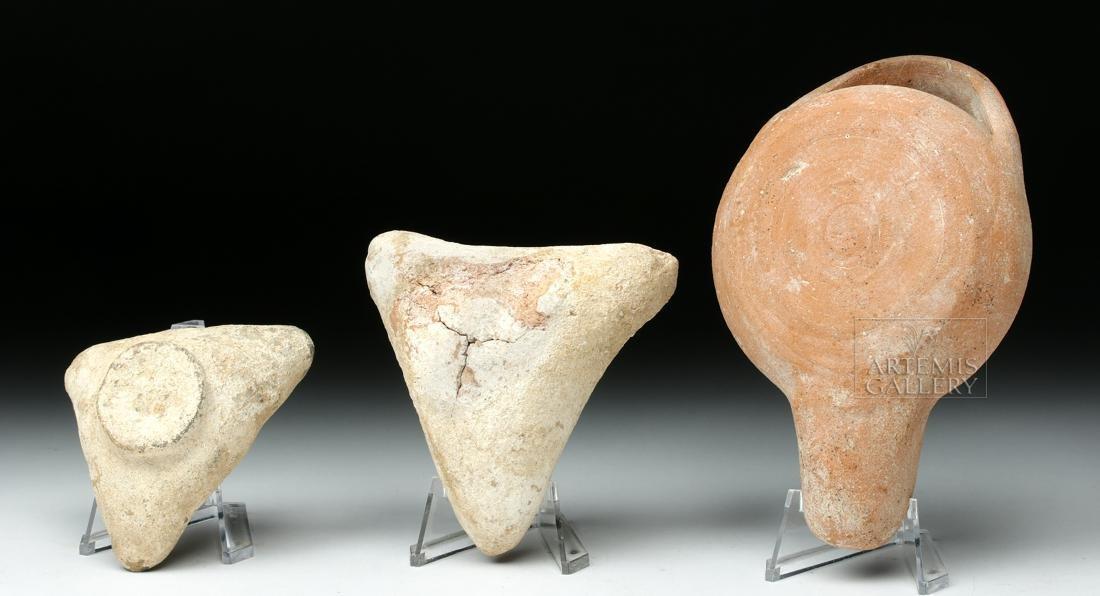 Trio of Ancient Greek Terracotta Oil Lamps - 3
