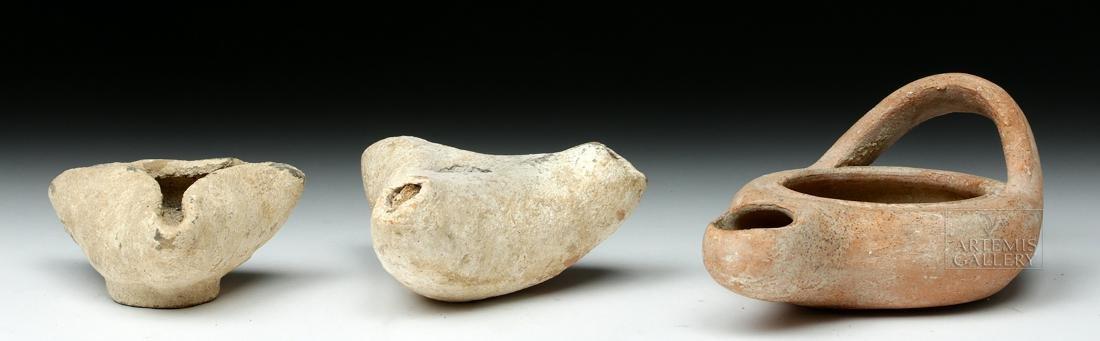 Trio of Ancient Greek Terracotta Oil Lamps - 4