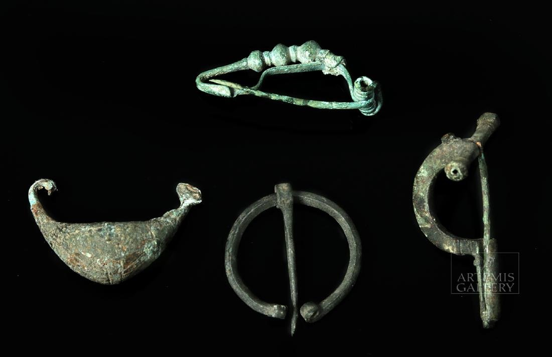Lot of 4 Bronze Fibulas - Villanovan, Roman, & Viking