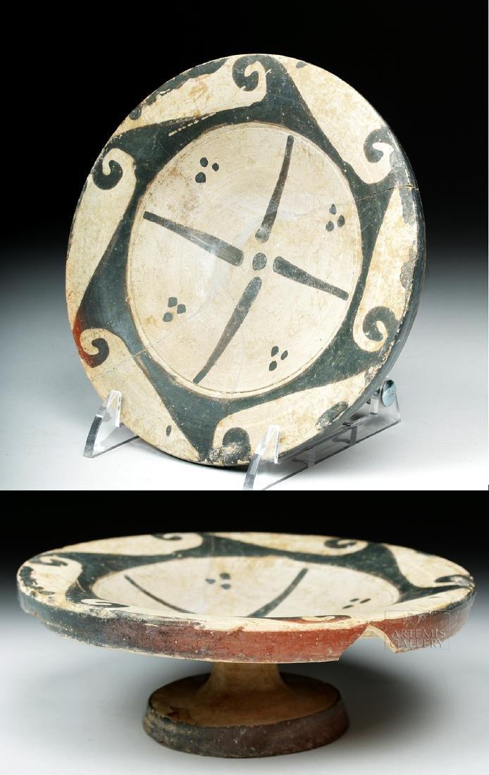 Etruscan Genucilia Group Pottery Pedestal Plate