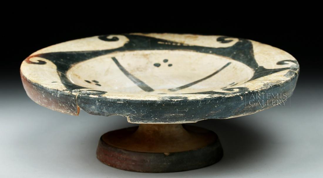 Etruscan Genucilia Group Pottery Pedestal Plate - 4