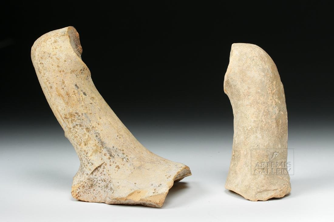 Pair of Roman Pottery Amphora Handles w/ Maker's Marks