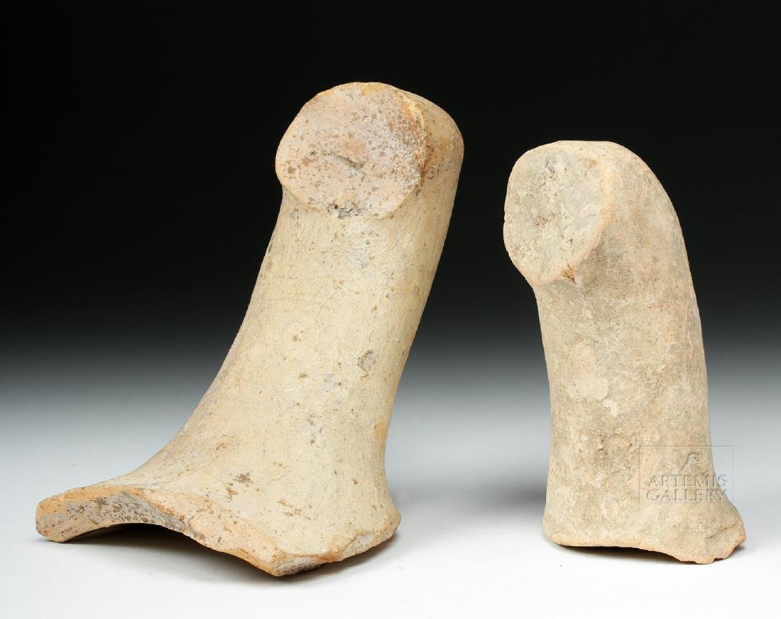 Pair of Roman Pottery Amphora Handles w/ Maker's Marks - 4