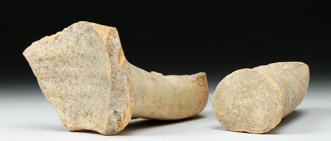 Pair of Roman Pottery Amphora Handles w/ Maker's Marks - 5