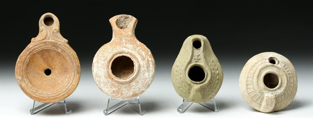 Lot of 4 Ancient Roman / Byzantine Terracotta Oil Lamps