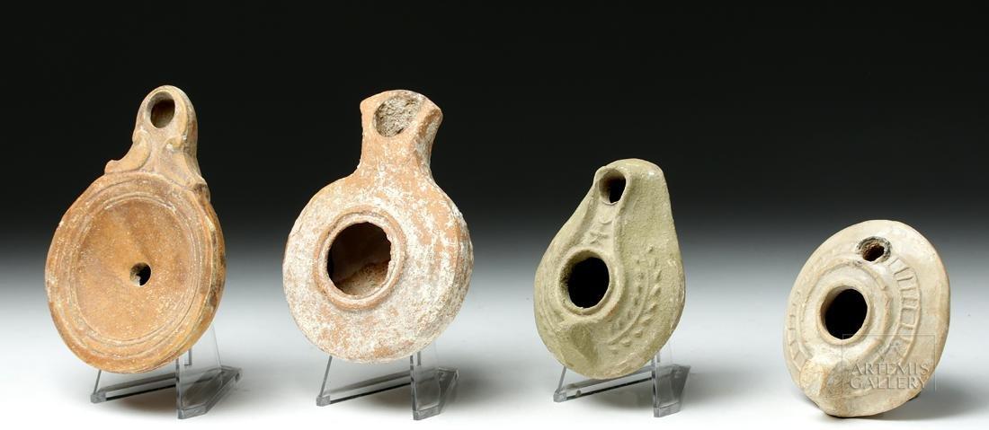 Lot of 4 Ancient Roman / Byzantine Terracotta Oil Lamps - 2